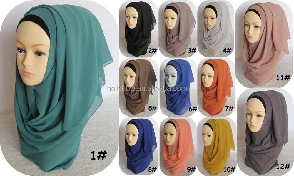 Wholesale Solid Color Chiffon Muslim Head Scarf