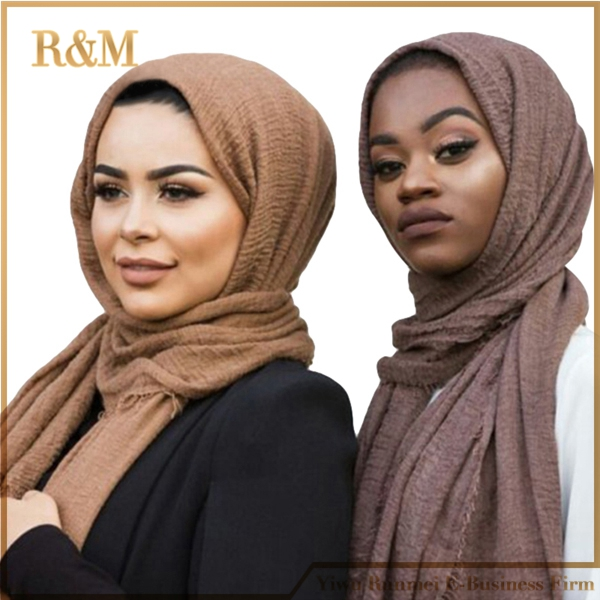 Women bubble plain scarf fringe Scarf women soft solid wrinkle hijabs fringes large Muslim scarves pashmina