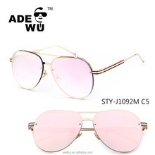 ADE WU oversize big metal frame custom logo high quality women aviator sunglasses