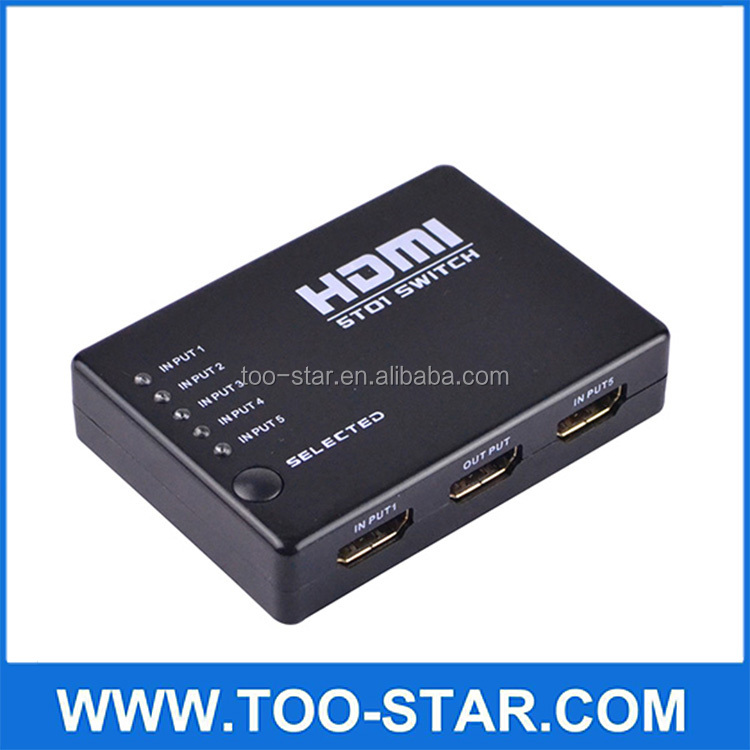 MINI Splitter 5 Port Hub Box Auto Switch HDTV PS3 DVD Splitter IR Remote 1080P Video Switcher