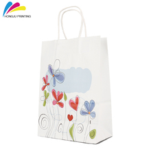 wholesale reusable custom logo printed white kraft paper recycled bag