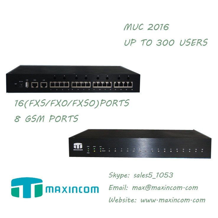 MUC 2016 enterprise IP solution 16 ports FXO/FXS ip pbx 300 users