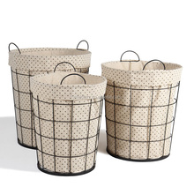 Wholesale wrought iron wire storage basket laundry hamper laundry basket for bathroom