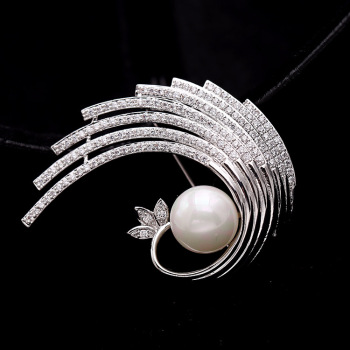 pearl corsage brooch feather brooch