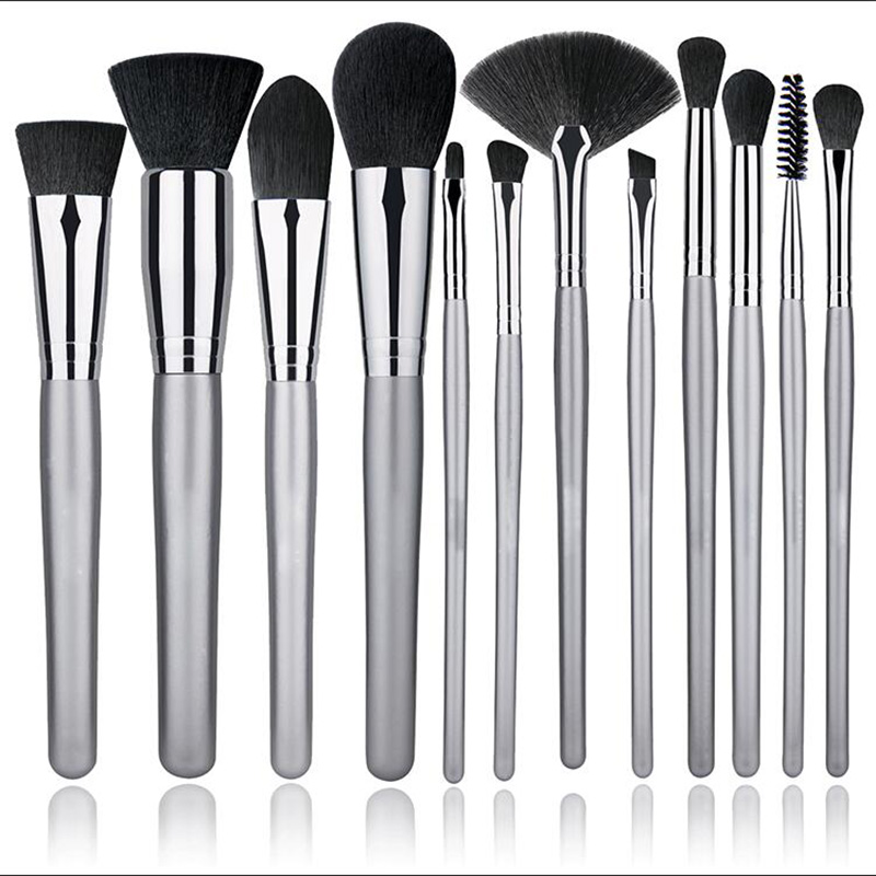 12 Pieces Professional Foundation Blending Blush Eye Face Liquid Powder Cream Cosmetics Brushes Soft Premium Synthetic Hair