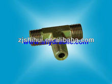 CARBON STEEL METRIC MALE O-RING BULKHEAD BRANCH TEE HYDRAULIC HOSE FITTING