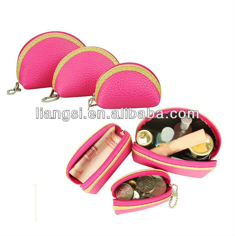 Genuine Soft Leather Coin Purse Small Change Purse with Zipper + Key Ring