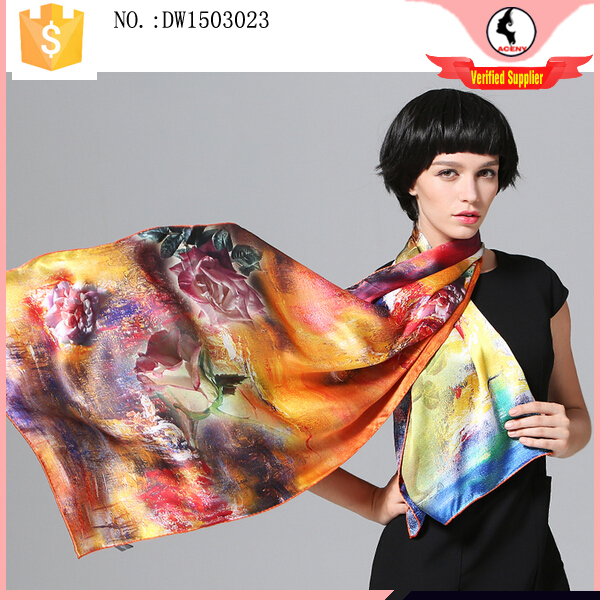 Latest design 100% silk fashion scarf 2017