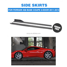 VEL Style 458 Base Coupe 2-Door Carbon Fiber Car Side Skirt for Ferrari 458 Italia 11-13