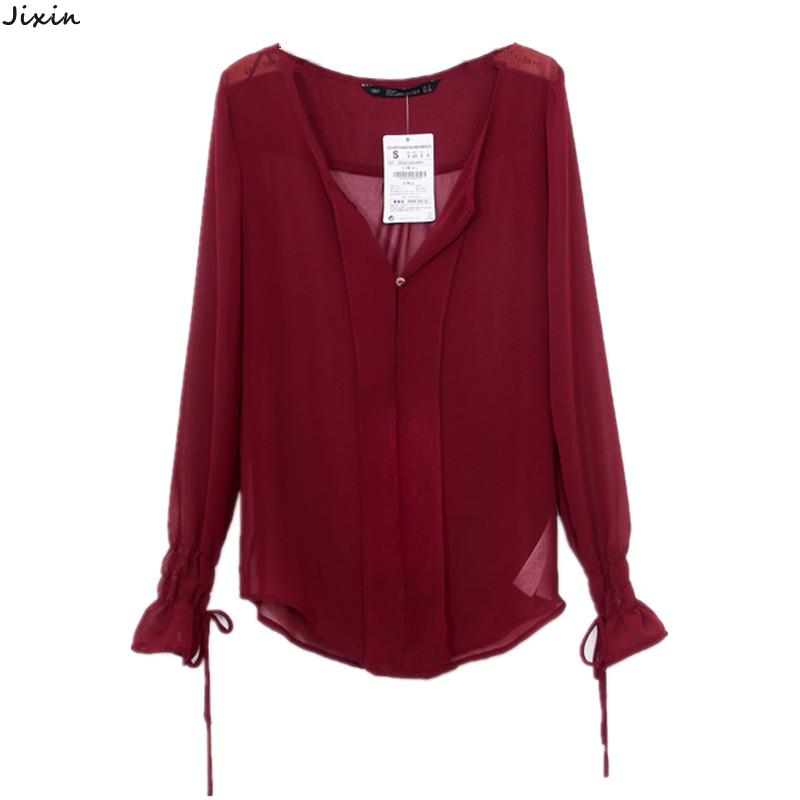 de6931b688d Get Quotations · Women Tops And Blouses V-Neck Long Sleeve Chiffon Shirts  Black Burgundy Sheer Blouse Elastic
