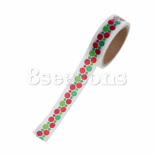 Party Decoration Red & Green Christmas Dot Pattern Paper Adhesive Tape