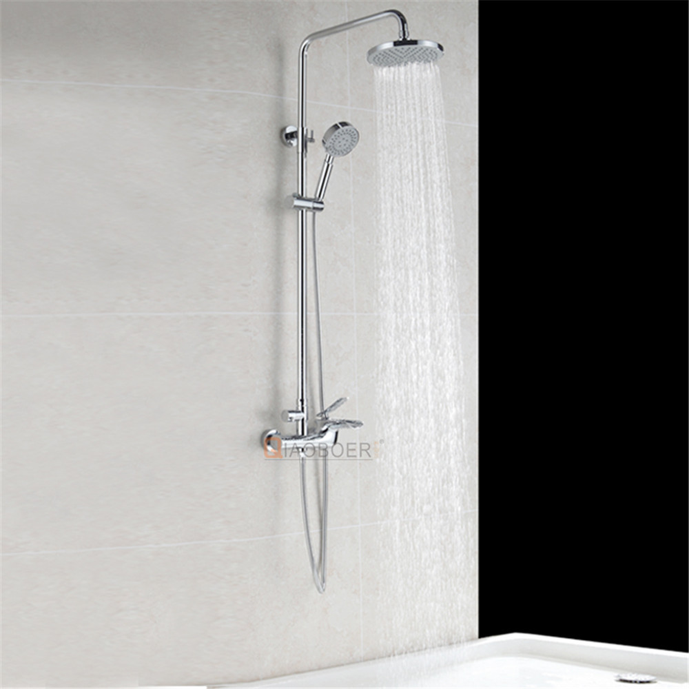 Luxury chrome brass round bath shower set, bath filler, shower column