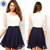 fashion new style women clothing summer dress with lace top bodice