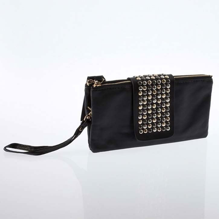 New Purse Bag Womens Korean Style Black PU Leather Rivet Clutch Bag And Purse And Wallet China Hand Bagag