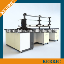 Chemicial steel laboratory island bench with reagent shelf