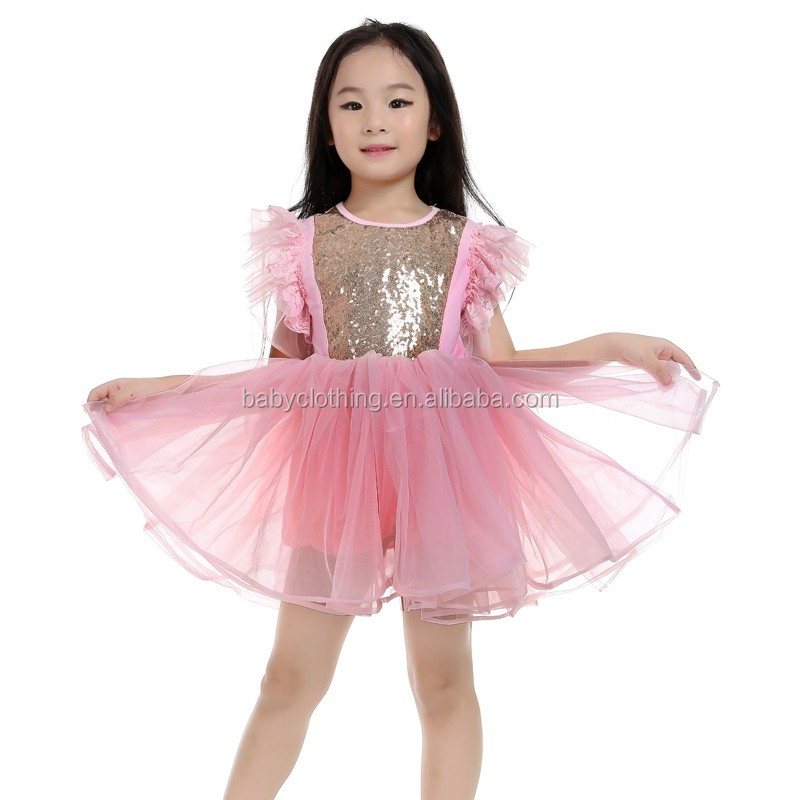 Howell wholesale 2017 boutique clothing USA girls gold and tulle flutter sleeves sequin dress baby tutu dress
