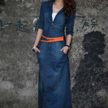 NG1009 fashion design lady long dress maxi women denim dress