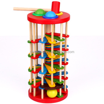 Funny knocking ball wooden toy with ladder
