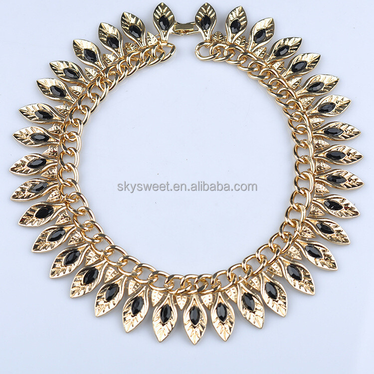 Gold Leaf Choker Necklace Indian Jewelry Stock