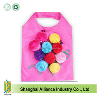 Different colors roses eco-friendly folding polyester shopping bag