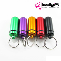 Waterproof Aluminum Pill Box Case Bottle Cache Drug Holder Keychain Container