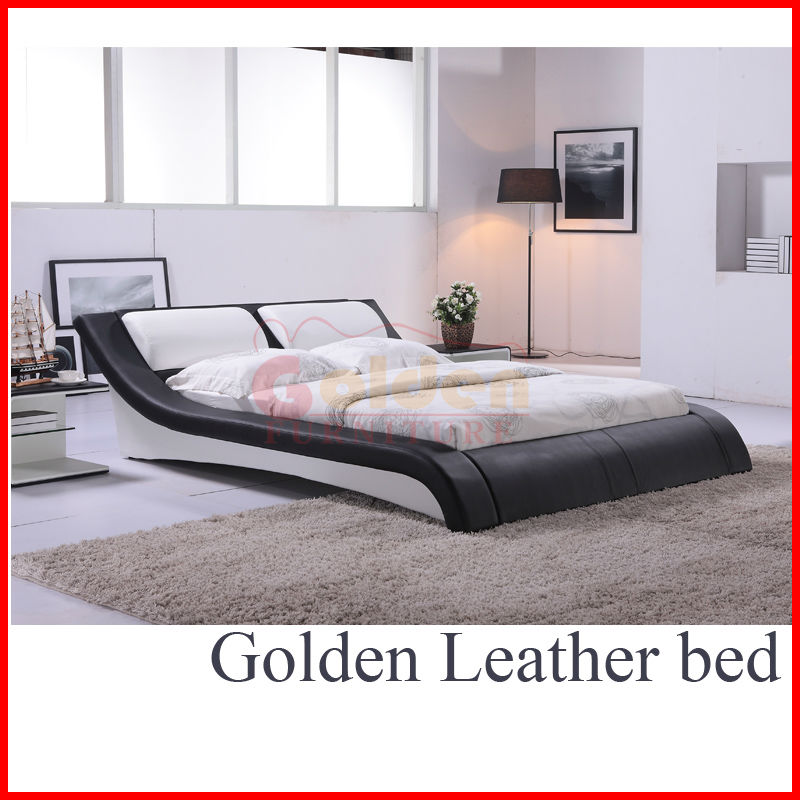 BG883# Bicast Leather plywood double bed designs