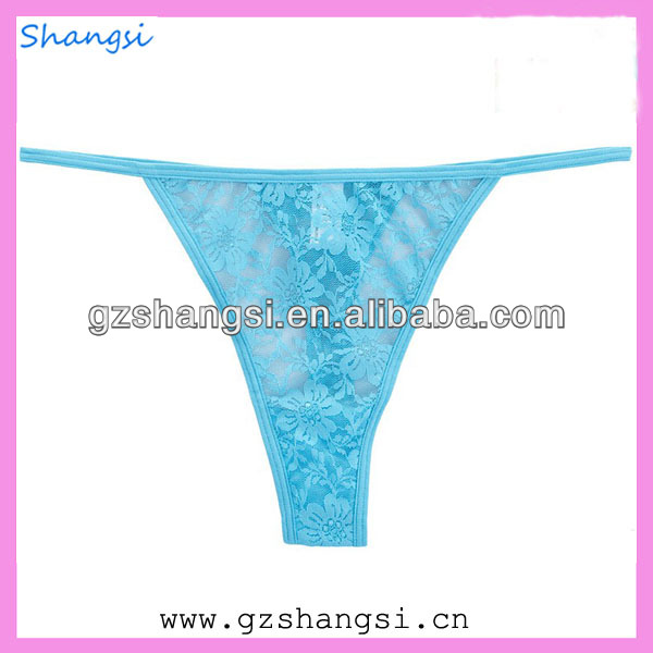 Hot sexy design thong ladies lace G-string blue