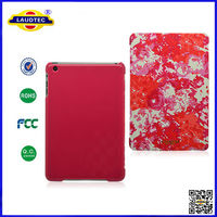 Three Folds Red Pattern Magnetic Stand Leather Case Cover For iPad Mini