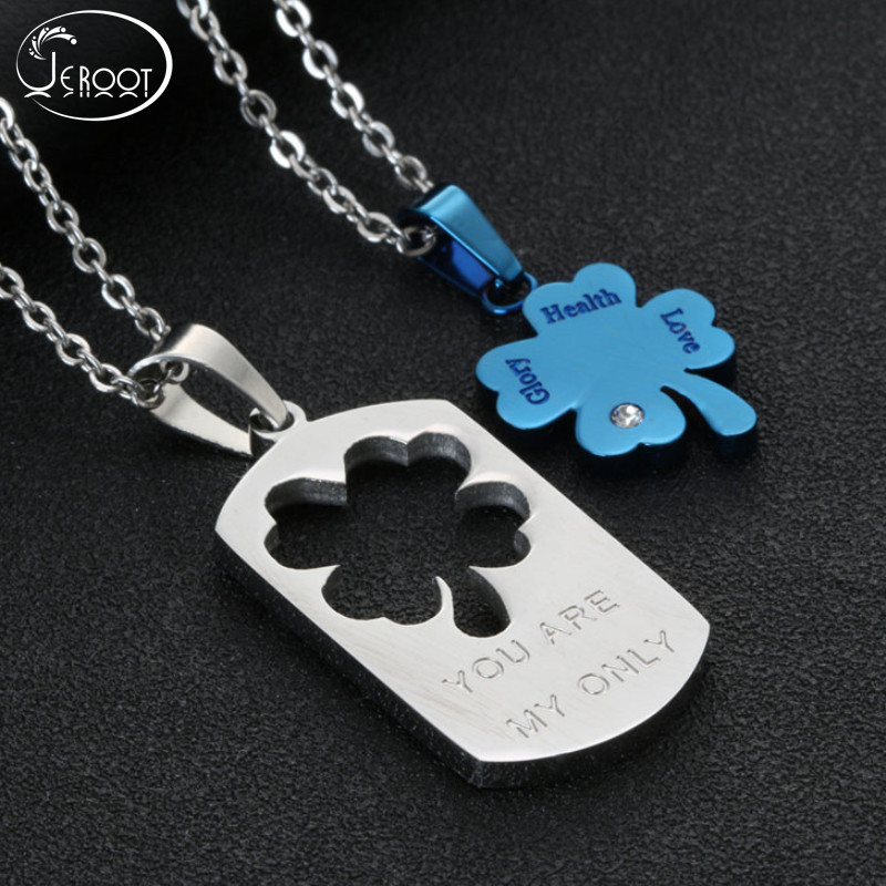 Couple Stainless Steel Hollow Clover Pendant Necklace for Men Women Ideal Gift for Couple Women Jewelry Fashion High Quality