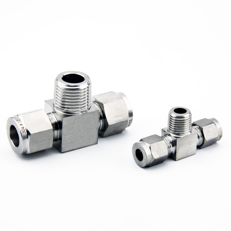Quick coupler ZG1/8-OD 8 male thread hard tube stainless steel 304 three way T type Terminal metal tubes and weld fittings