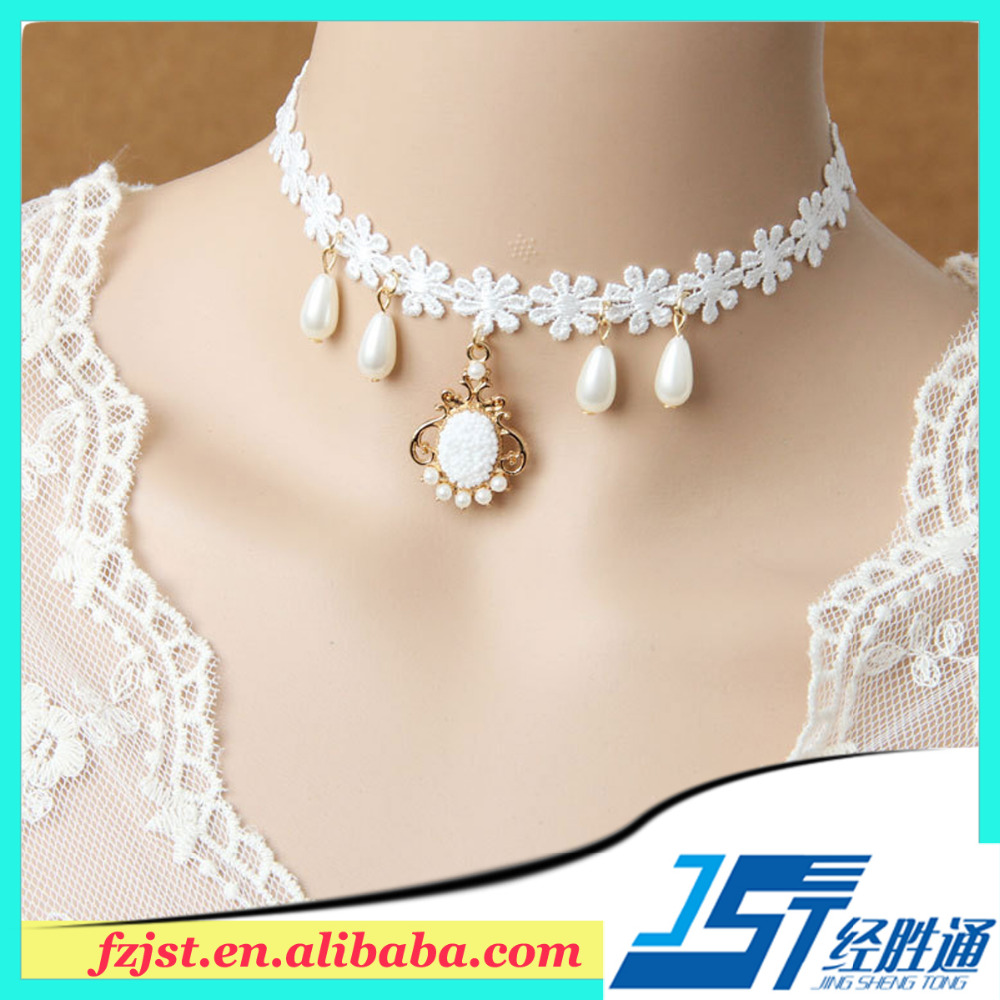 Latest bridal lace collar necklace design with pendant 20pcs online sale