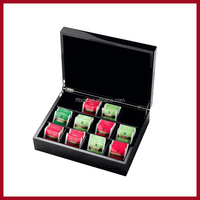 black 12 compartments glossy painting wooden tea bags storage box