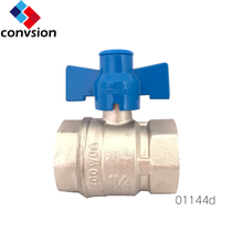Convsion DN40 Female to Female Thread Water brass blue handle hydraulic Ball Valve