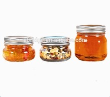 Clear 8 oz ball Glass Wide Mouth Tapered Mason Jar with Airtight Gold Silver Metal Lid