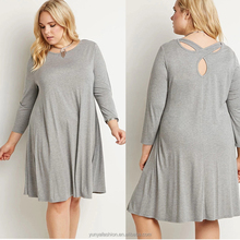 XXXL Light Grey Women Long Sleeve Maxi Dress Plus Size Dress Shirt