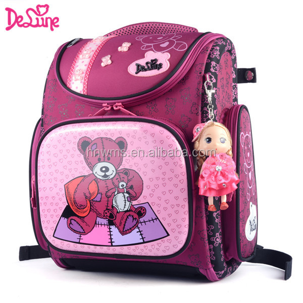 Primary cartoon school bags for grade1-5 folding design girls backpack bag