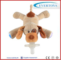Wholesale infant baby plush stuffed toy pacifier with plush dog toy