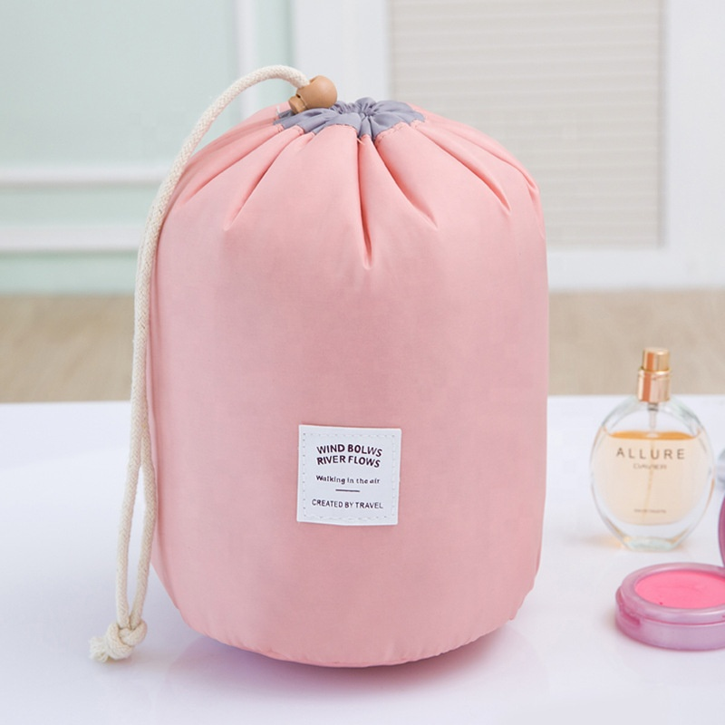 SJ1013 fashion customized drawstring <strong>cosmetic</strong> round travel portable large capacity makeup toiletry organizer bag