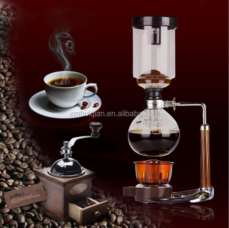 2 cup 3 cup Stainless steel and glass siphon coffee maker