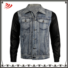 Custom fashion boy denim jacket with leather sleeves
