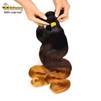 High quality three tone 100 ombre colored human body wave hair weave
