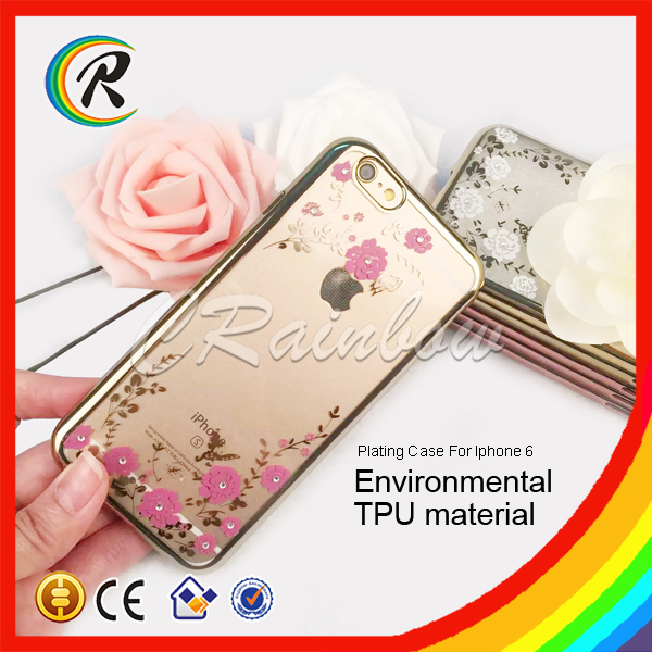 High Clear Electronic Plate Soft TPU flower Case for iphone 6 Visa accept