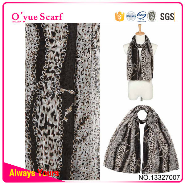 Leopard 100 Polyester Crepe Chiffon Hijabs From Dubai