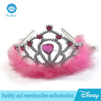 Wholesale Feather Plastic Princess Tiara Crown with Pink Jewelry for Girls for Kids