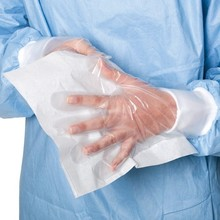 Disposable PE HDPE LDPE gloves with paper hangtag