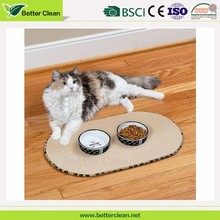 Round shape microfiber dog flooring pad for food bowl pet drying mat