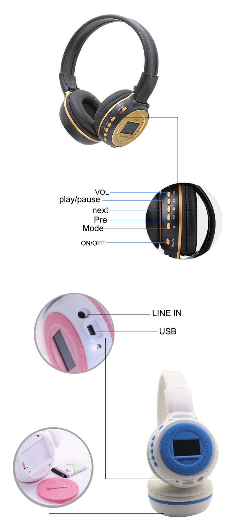 Best price high quality colorful LED light BT mobile headphones with screen display OS-N65