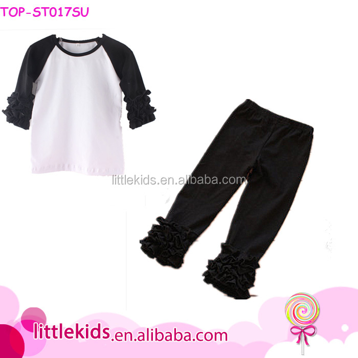 Fashion Causal Kids Clothes Girl Spring Summer Black Icing Top And Pants Set Causal Wear