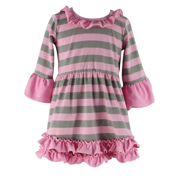 2015 new fashion wholesale Baby Girls Children Cotton Casual long Sleeve Strip Knit Dress For Children