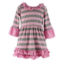 2017 new fashion wholesale Baby Girls Children Cotton Casual long Sleeve Strip Knit Dress For Children